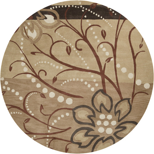 4' Brown and Black Hand-Tufted Round Wool Area Throw Rug - IMAGE 1