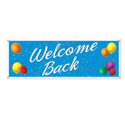 """Club Pack of 12 Blue and White 'Welcome Back' Sign Banners 60"""" - IMAGE 1"""