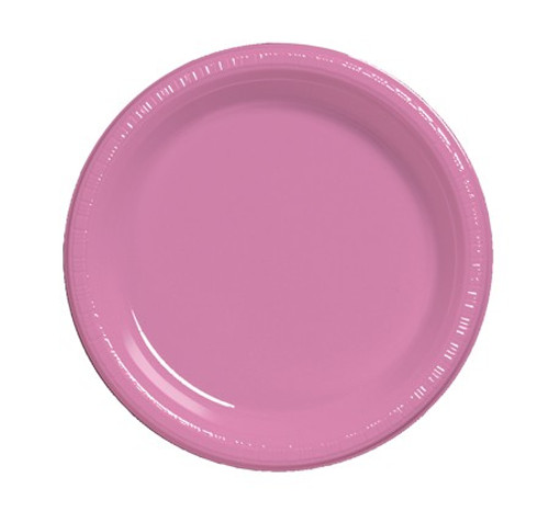 """Club Pack of 240 Candy Pink Disposable Plastic Party Banquet Dinner Plates 10"""" - IMAGE 1"""