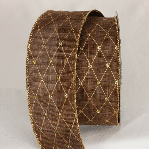 """Brown and Gold Diamond Dot Wired Craft Ribbon 2.5"""" x 20 Yards - IMAGE 1"""