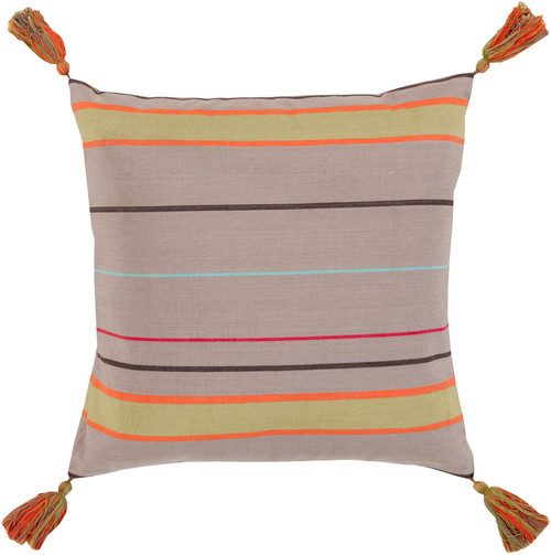 """22"""" Taupe Brown, Lime Green and Orange Striped Decorative Throw Pillow - Polyester Filled - IMAGE 1"""