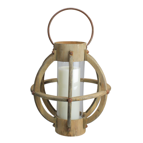 "15.75"" Seaside Treasures Rustic Chic Drift Wood and Glass Hurricane Pillar Candle Lantern - IMAGE 1"