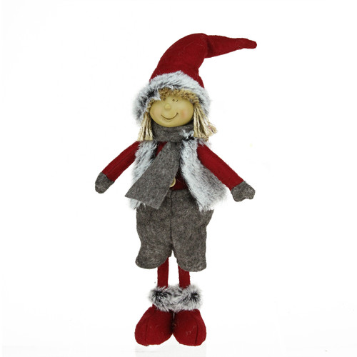"13.5"" Young Boy Gnome in Faux Fur Vest Christmas Tabletop Decoration - IMAGE 1"