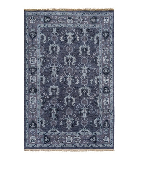 2' x 3' Slate Gray and Pewter Gray Rectangular Hand Knotted Wool Area Throw Rug - IMAGE 1