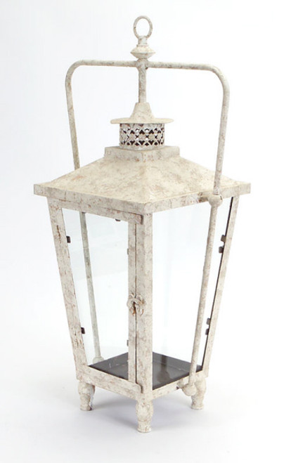 """23"""" Distressed Rustic White Spackled Indoor/Outdoor Candle Holder Lantern - IMAGE 1"""