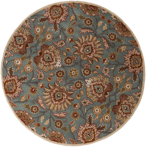 6' Octavia Gray and Brown Round Wool Area Throw Rug - IMAGE 1