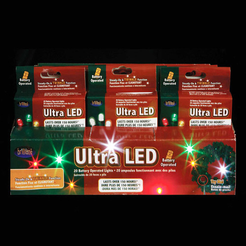 24 Battery Operated Multi-colored LED Christmas Lights - 7 ft Green Wire - IMAGE 1
