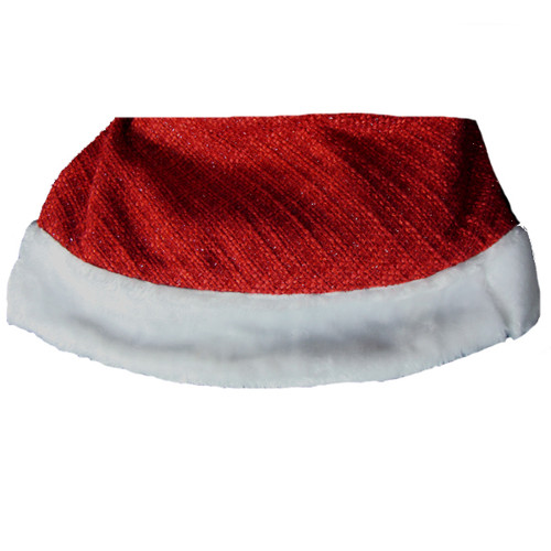 """48"""" Red and White Woven Sparkle Christmas Tree Skirt - IMAGE 1"""