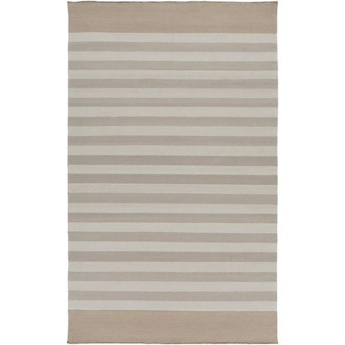 8' x 11' White Contemporary Hand Woven Area Throw Rug - IMAGE 1