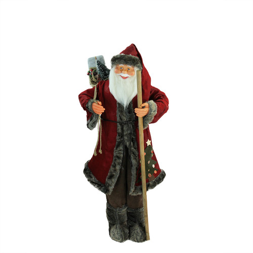 """48"""" Red and Brown Standing Santa Claus Christmas Figurine with Walking Stick - IMAGE 1"""