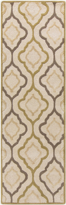 2.5' x 8' Moroccan Lattice Antique White, Olive and Brindle Brown Hand Tufted Wool Area Throw Rug Runner - IMAGE 1