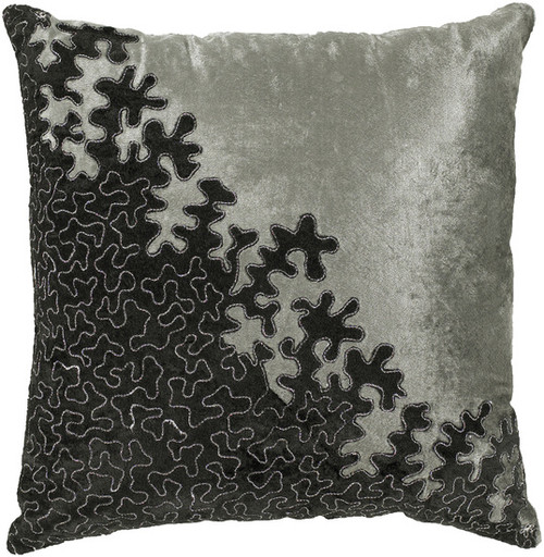 """18"""" Black and Gray Contemporary Floral Throw Pillow - IMAGE 1"""