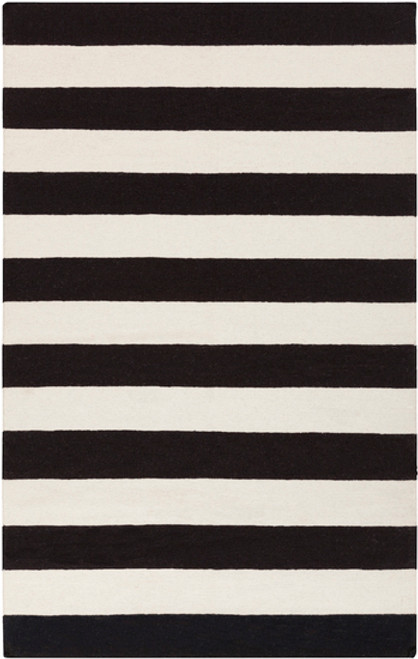 5' x 8' Striped Black and White Hand Woven Rectangular Wool Area Throw Rug - IMAGE 1