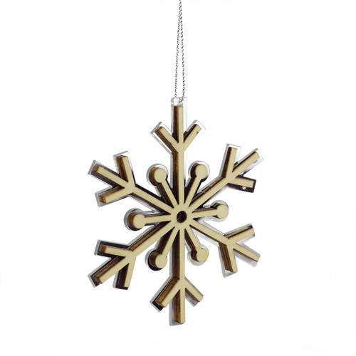 """4"""" Winter Light Rustic Wooden Mirrored Snowflake Christmas Ornament - IMAGE 1"""
