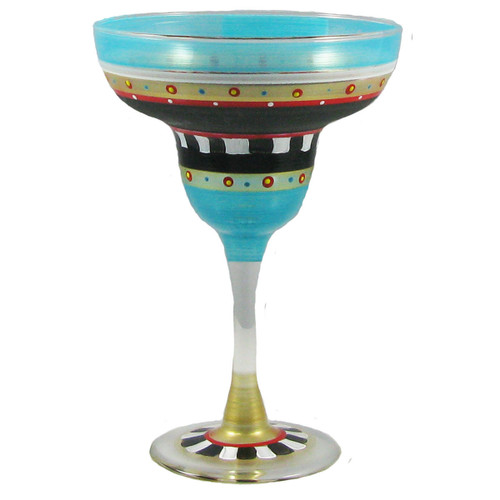 """Set of 2 Blue and Black Mosaic Chalkboard Hand Painted Margarita Drinking Glasses 7"""" - IMAGE 1"""