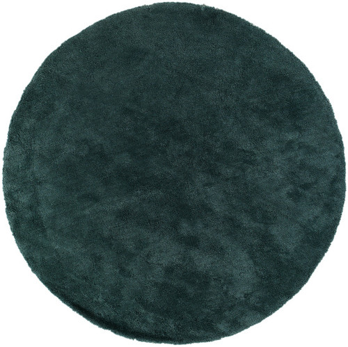 8' Teal Blue Hand Tufted Plush Round Area Throw Rug - IMAGE 1