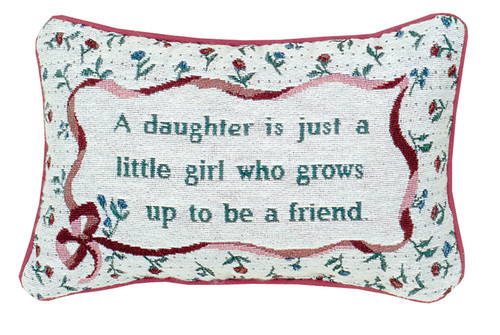 "12.5"" White and Green ""Daughter"" Rectangular Throw Pillow - IMAGE 1"