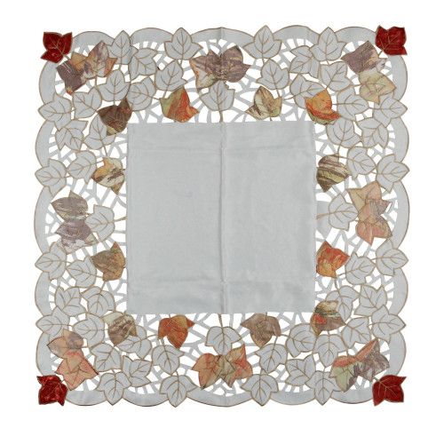 "34"" White and Red Embroidered Fall Leaf Square Thanksgiving Table Placemat - IMAGE 1"