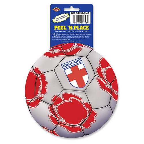 """Club Pack of 12 Gray, Red and White """"England"""" Peel 'N Place Soccer Themed Decals 5.25"""" - IMAGE 1"""