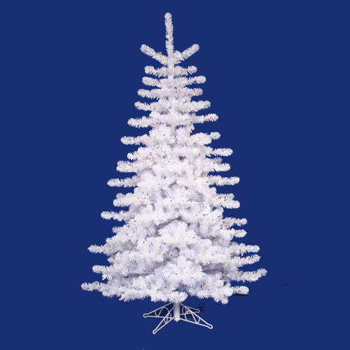 12' Pre-lit Crystal White Artificial Christmas Tree - Multi Lights - IMAGE 1