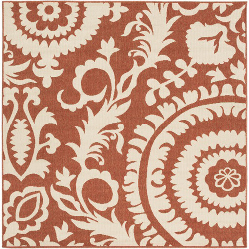 8.75' x 8.75' Brown and Beige Floral Shed-Free Square Area Throw Rug - IMAGE 1