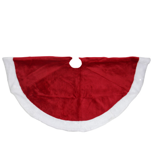 "48"" Red and White Velveteen Christmas Tree Skirt with White Trim - IMAGE 1"