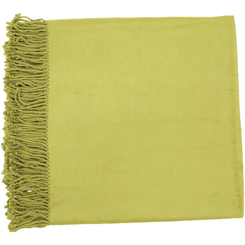 "Green Fringed Rectangular Throw Blanket 50"" x 67"" - IMAGE 1"