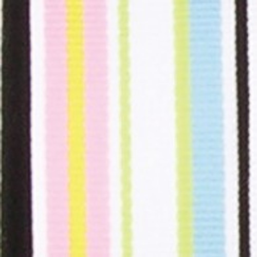 """White and Green Striped Woven Grosgrain Craft Ribbon 1"""" x 55 Yards - IMAGE 1"""