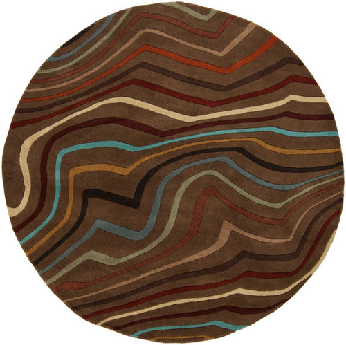 8' Blue and Red Contemporary Round Wool Area Throw Rug - IMAGE 1