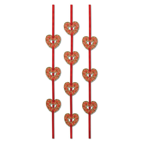 Club Pack of 36 Valentine Themed Floral Heart Ribbon Stringer Hanging Party Decorations 4' - IMAGE 1