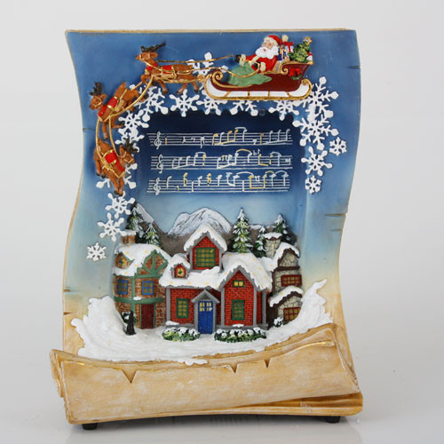 """10"""" Blue and Beige LED Lighted Musical Holiday Village Book Christmas Tabletop Decor - IMAGE 1"""