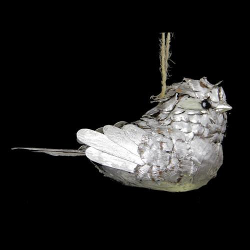 "8"" Silver Glittered Pine Cone Bird Christmas Ornament - IMAGE 1"