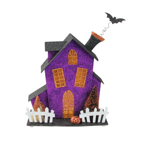 """11"""" Black and Purple Glitter Drenched Lighted Haunted Fun House Halloween Decor - IMAGE 1"""