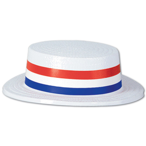 """Pack of 24 White and Blue Patriotic 4th of July Skimmer Party Hats 3.25"""" - IMAGE 1"""