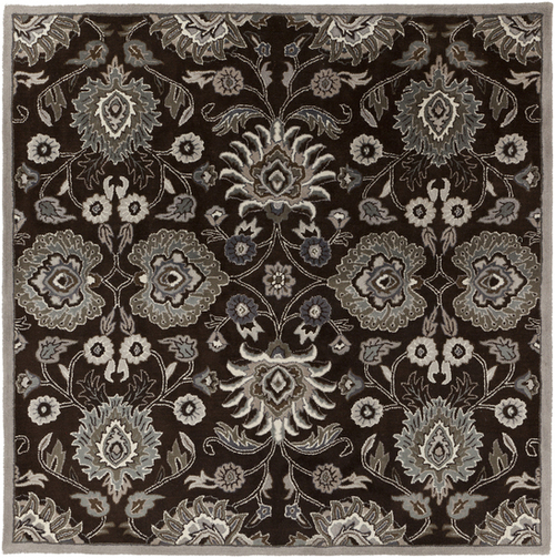 9.75' x 9.75' Chocolate Brown and Gray Damask Hand Tufted Square Area Throw Rug - IMAGE 1