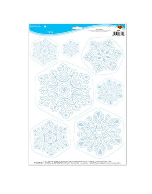"""Club Pack of 84 Blue and White Snowflake Christmas Cling Sheets 17"""" - IMAGE 1"""