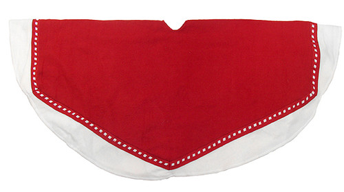 """47"""" Red and White Solid Christmas Tree Skirt with Weaved Edge - IMAGE 1"""