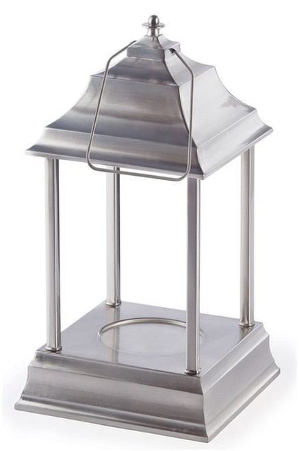"""13"""" Decorative Brushed Nickel Traditional Colonial Style Bellaroma Carriage Candle Warmer Lantern - IMAGE 1"""