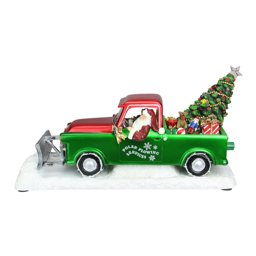 "11"" Green and Red Musical LED Lighted Polar Plowing Truck with Santa Claus Decoration - IMAGE 1"