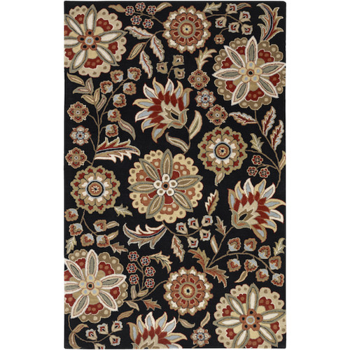 4' x 6' Black and Red Hand-Tufted Rectangular Wool Area Throw Rug - IMAGE 1