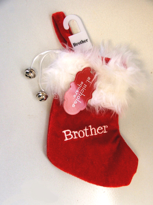 "7"" Red and White ""Brother"" Embroidered Mini Christmas Tree Stocking - IMAGE 1"