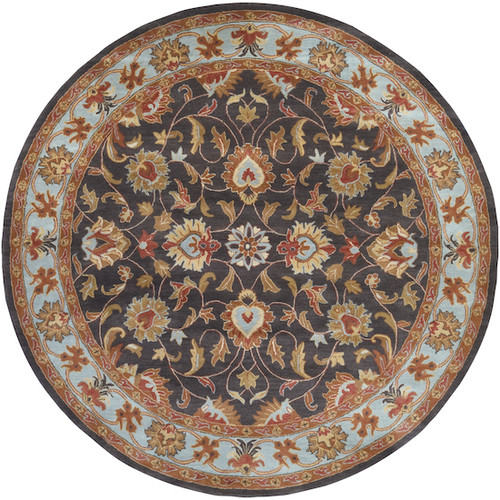 8' Floral Gray and Brown Hand Tufted Round Wool Area Throw Rug - IMAGE 1