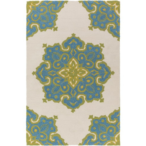 8' x 10' Green Contemporary Medallion Pattern Area Throw Rug - IMAGE 1