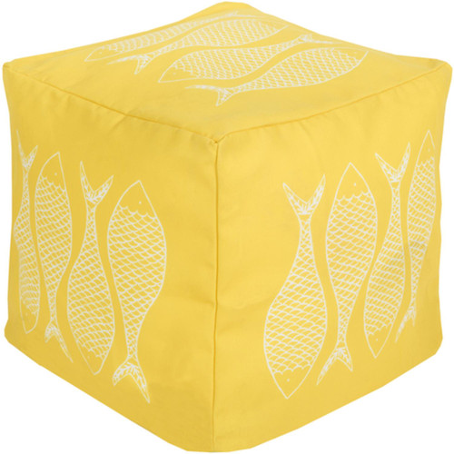 "18"" Squash Yellow and Light Gray Mackerel Square Outdoor Patio Pouf Ottoman - IMAGE 1"