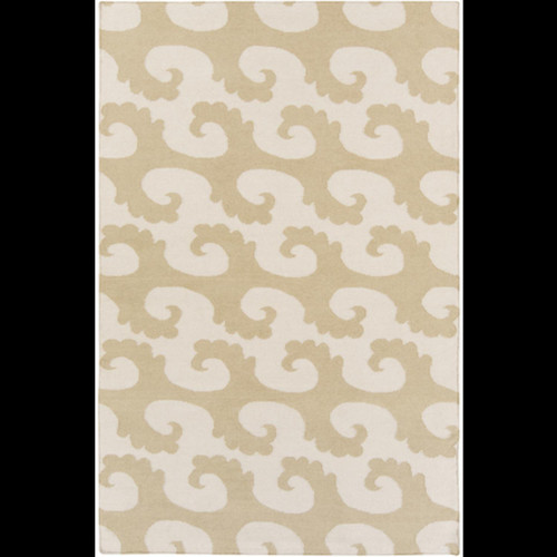5' x 8' Brown and Beige Hand Woven Rectangular Wool Area Throw Rug - IMAGE 1