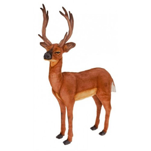 """41.25"""" Brown and Black Handcrafted Tailed Deer Stuffed Animal - IMAGE 1"""