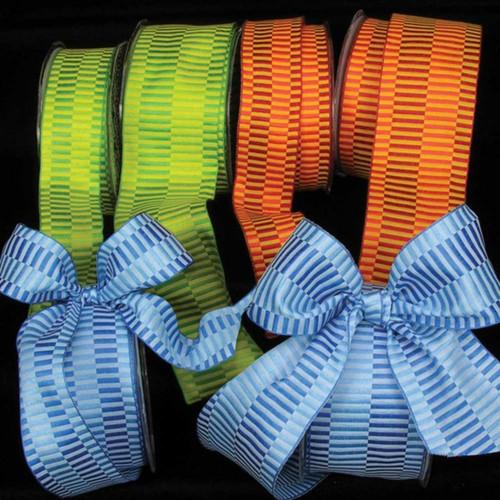 "Orange and Yellow Retro Taffeta Wired Craft Ribbon 2.5"" x 54 Yards - IMAGE 1"
