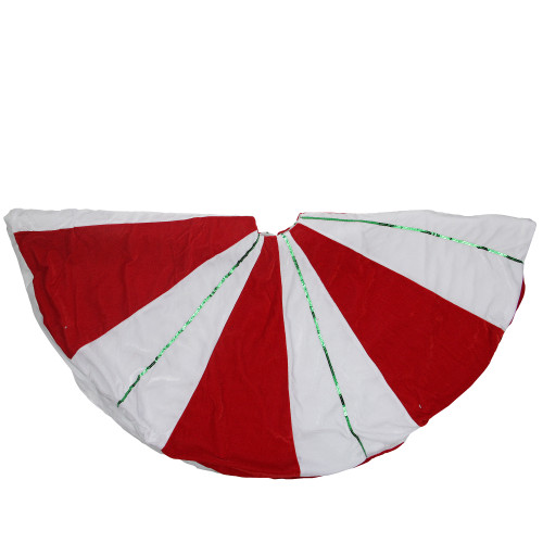 """48"""" Red and White Peppermint Twist Stripes Christmas Tree Skirt - IMAGE 1"""