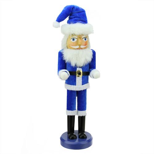 "14"" Decorative Blue and White Hanukkah Santa Wooden Holiday Nutcracker - IMAGE 1"