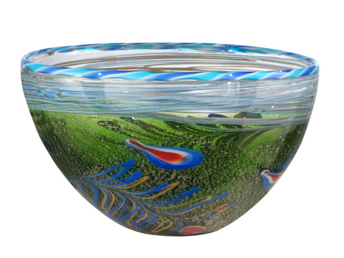 """12"""" Green Moss and Blue Red and Yellow Feather Decorative Hand Blown Glass Bowl - IMAGE 1"""